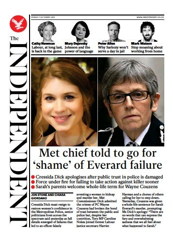 The Independent - 'Met Chief told to go'