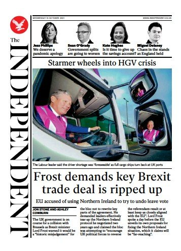 The Independent - 'Frost demands key Brexit trade deal is ripped up'