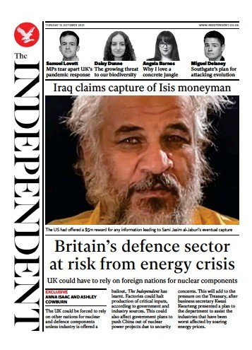 The Independent - 'Britain's defence sector at risk'