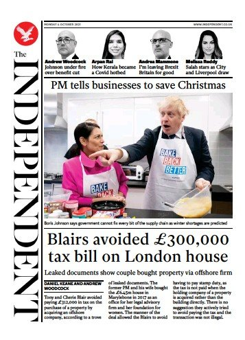 The Independent - 'Blairs avoided £300K tax bill on London home'
