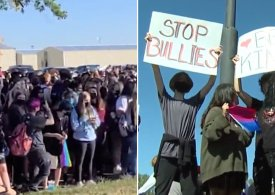 Hundreds of children walk in support of gay student whose bullying 'was ignored'