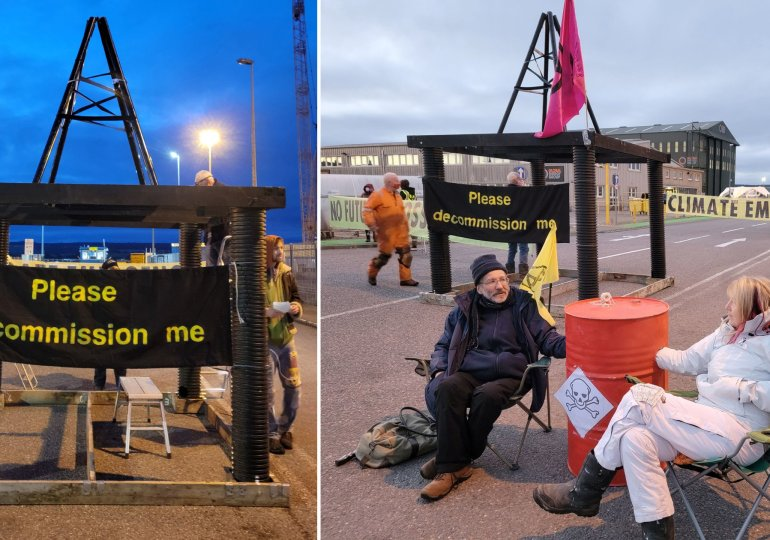 North Sea oil base blocked by Extinction Rebellion protesters