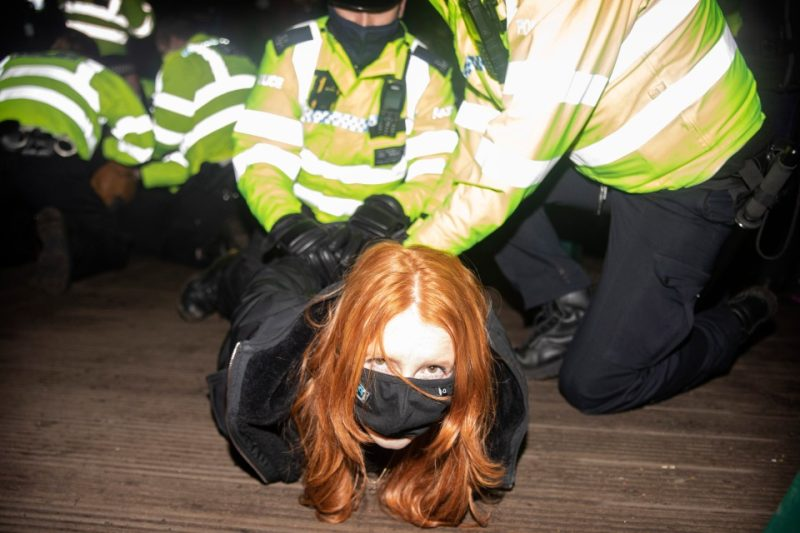 Woman pictured being arrested at Sarah Everard vigil says '50 cops' have since contacted her on Tinder
