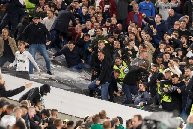 Violent scenes as West Ham and Rapid Vienna fans clash at the London Stadium